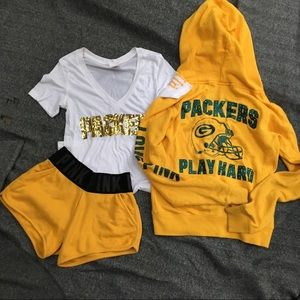 PINK Green Bay Packers lounge outfit small